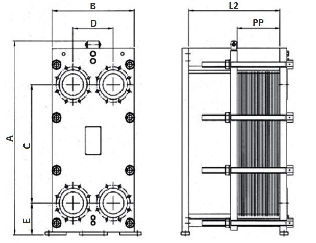 Габаритные размеры теплообменника Funke FP 100-25