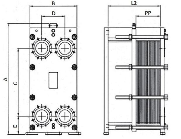 Габаритные размеры теплообменника Funke FPDW 205-16